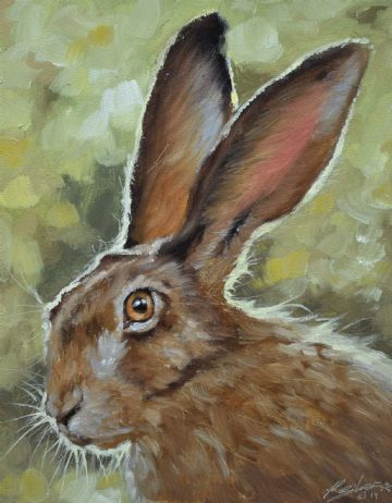 Beautiful John Silver Original Oil Painting Of A Hare